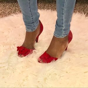 {Mossimo} Red Vintage Satin Pumps
